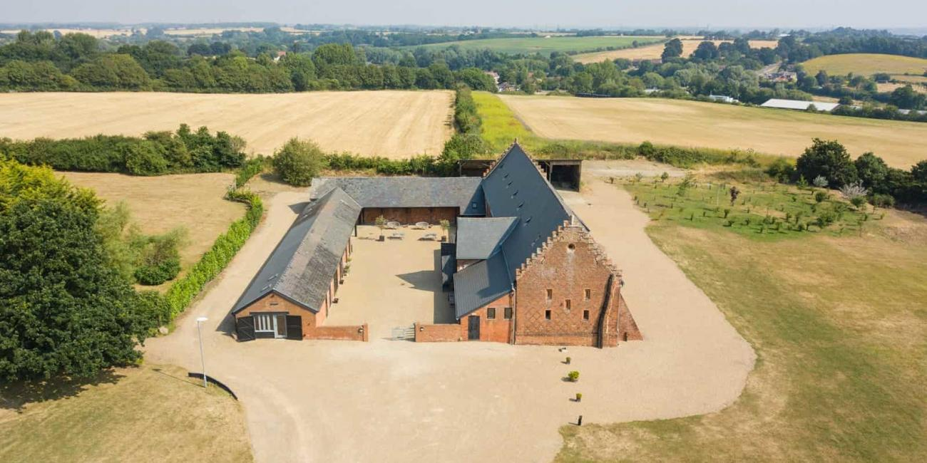 Aerial view Copdock Hall Suffolk Essex border
