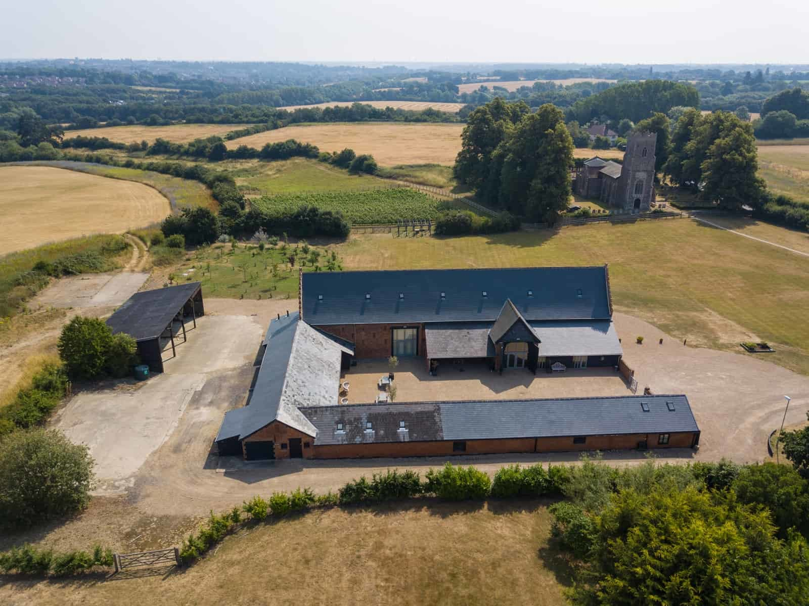 Aerial view Copdock Hall, Grounds and Church