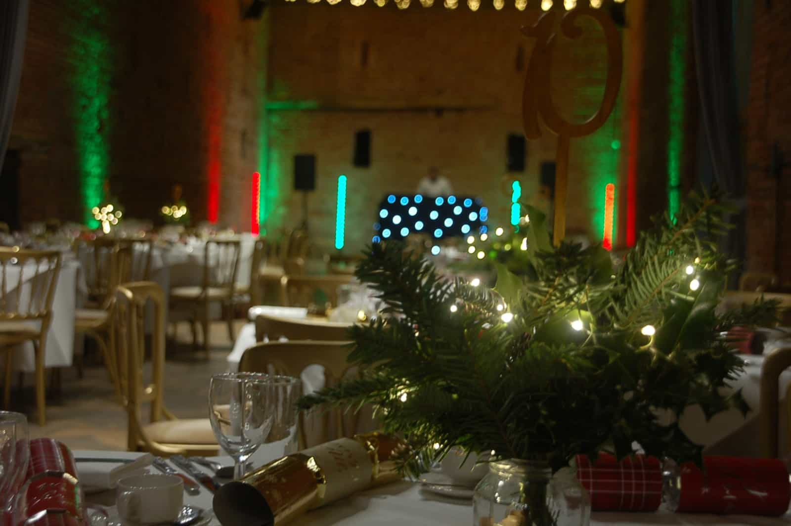Christmas dinner setting at Copdock Hall