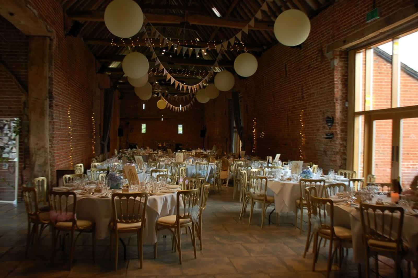 Copdock Hall Gold bunting and paper lantern reception