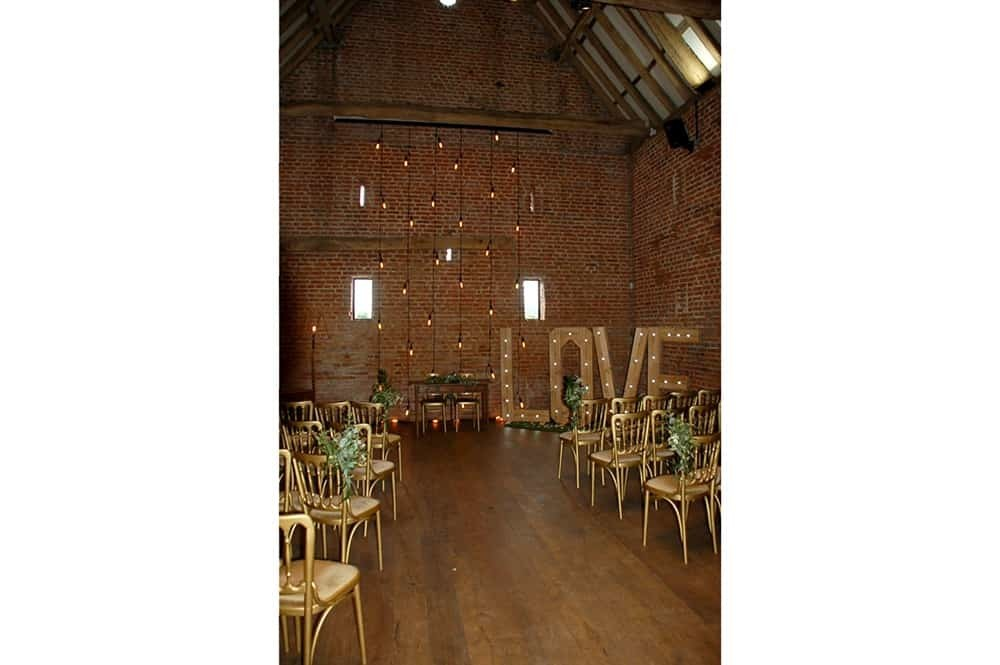 Copdock Hall barn Wedding Love Service Layout