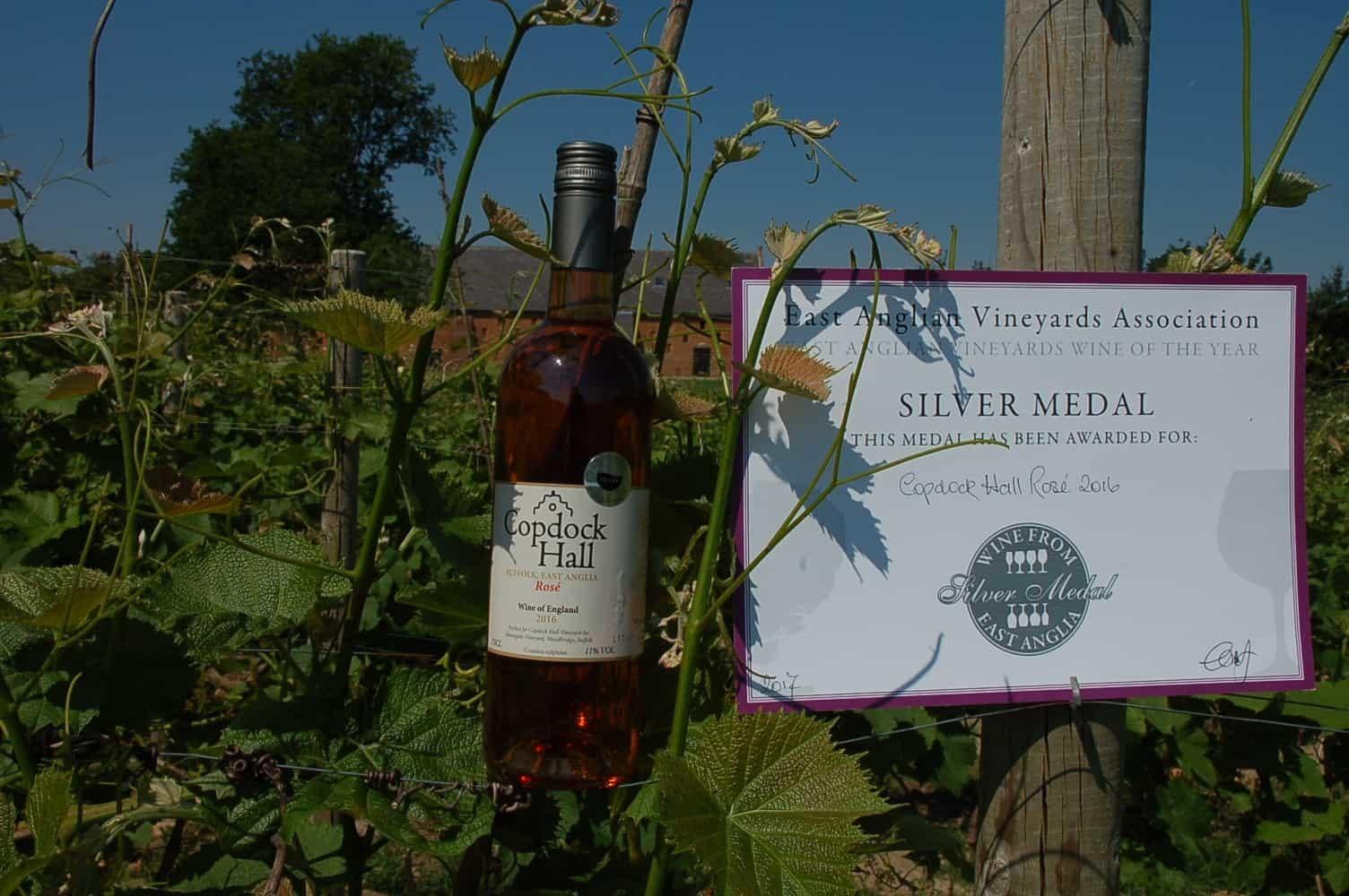Copdock Hall Vineyard Silver Medal winning rose wine