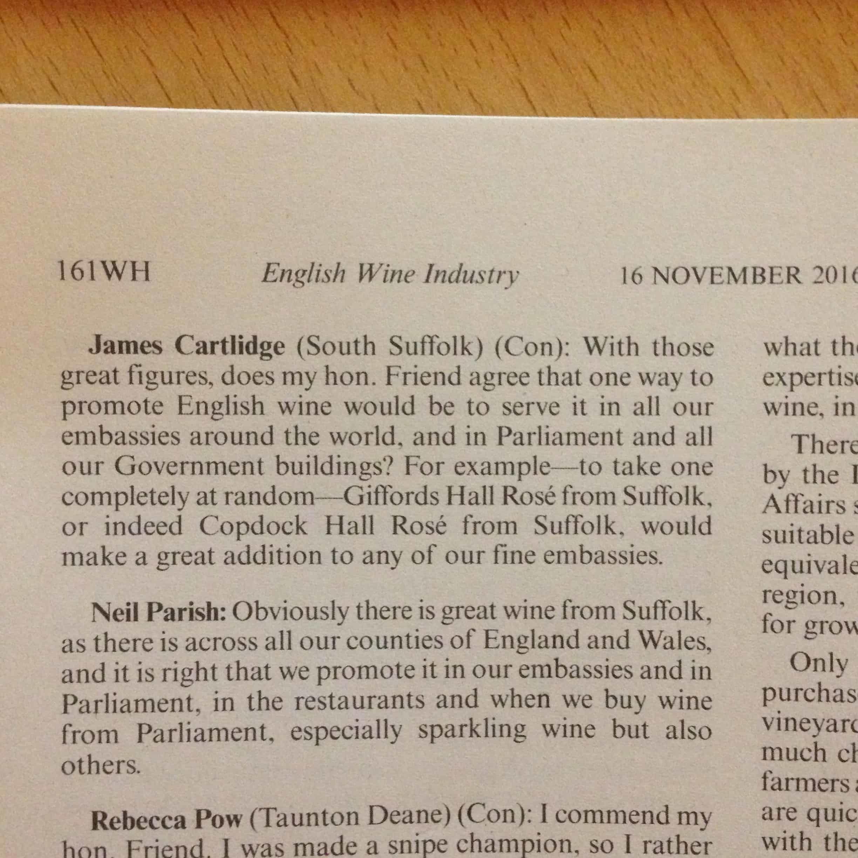Copdock Hall Vineyard in Parliament