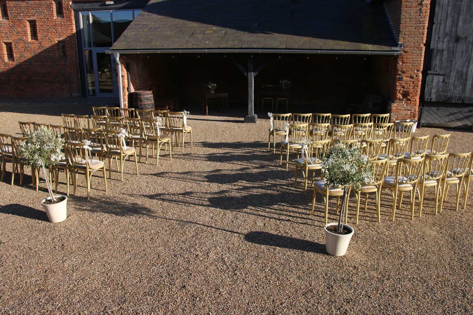 Copdock Hall Chairs set for outside Wedding service