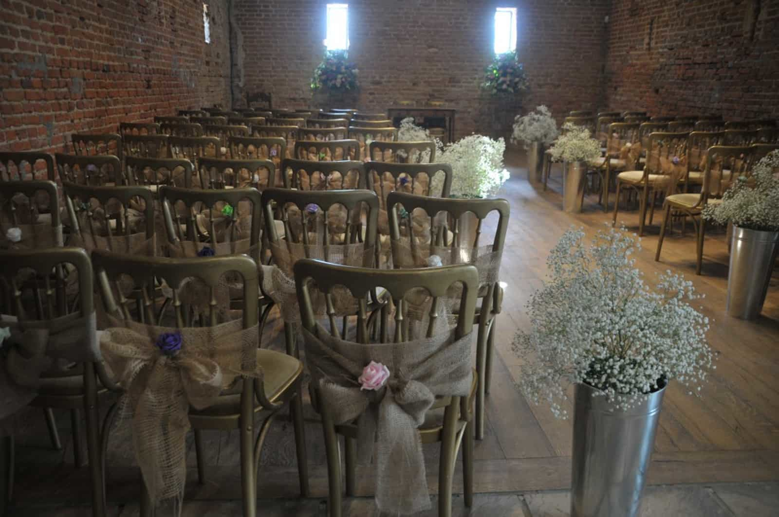 Baby's breath tubs of flowers at Copdock Hall