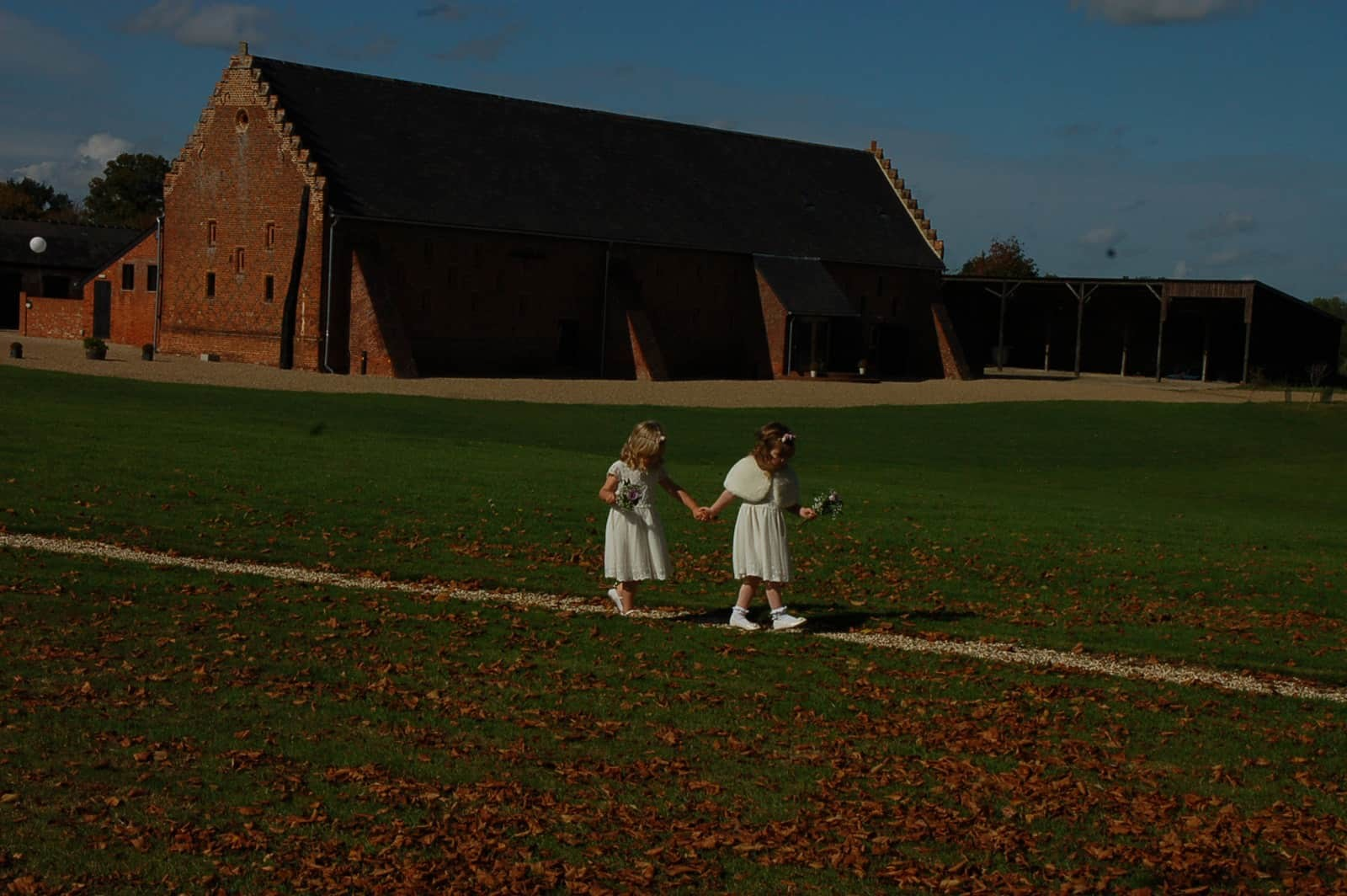 Bridesmaids walking the line