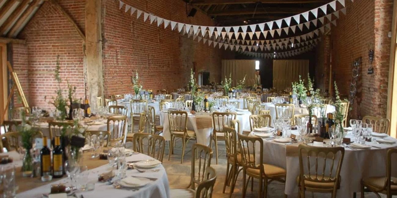 White theme bunting at Copdock Hall reception