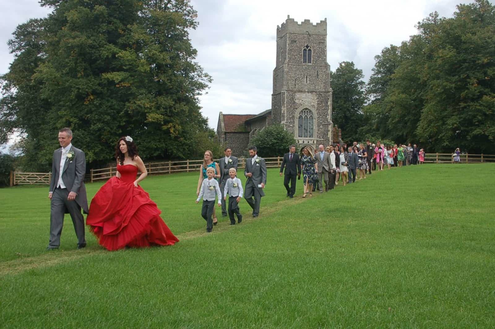 The bride wore red - back from St Peter's Church