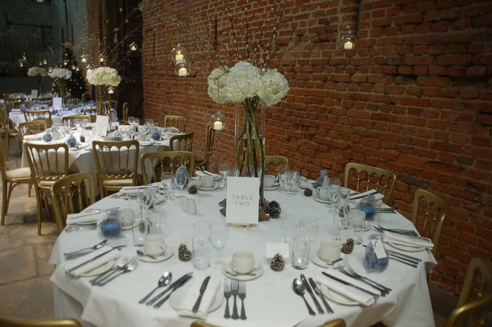 White, Silver and Blue Winter Wedding Reception