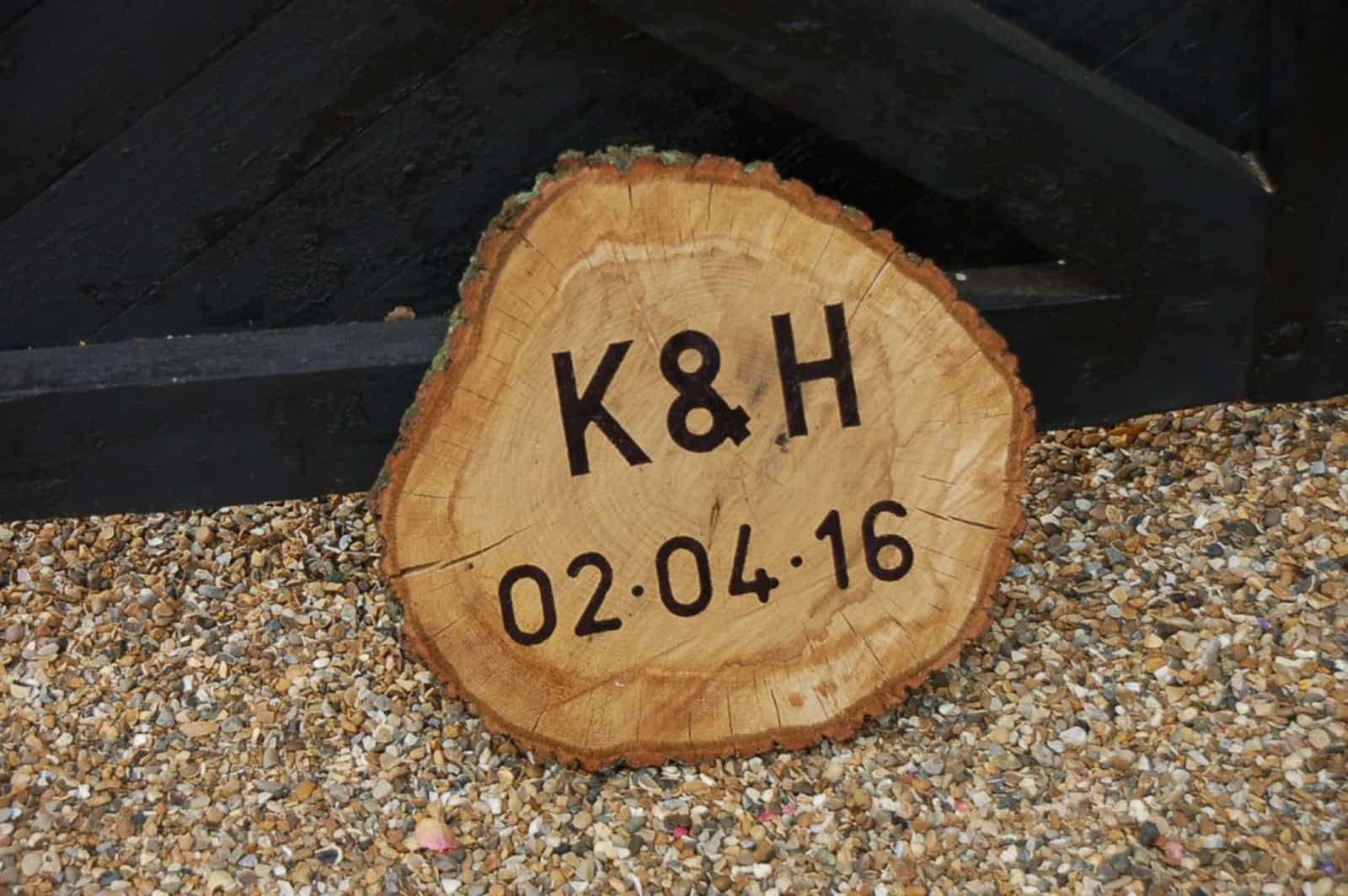 Engraved rustic wooden wedding commemorative sign