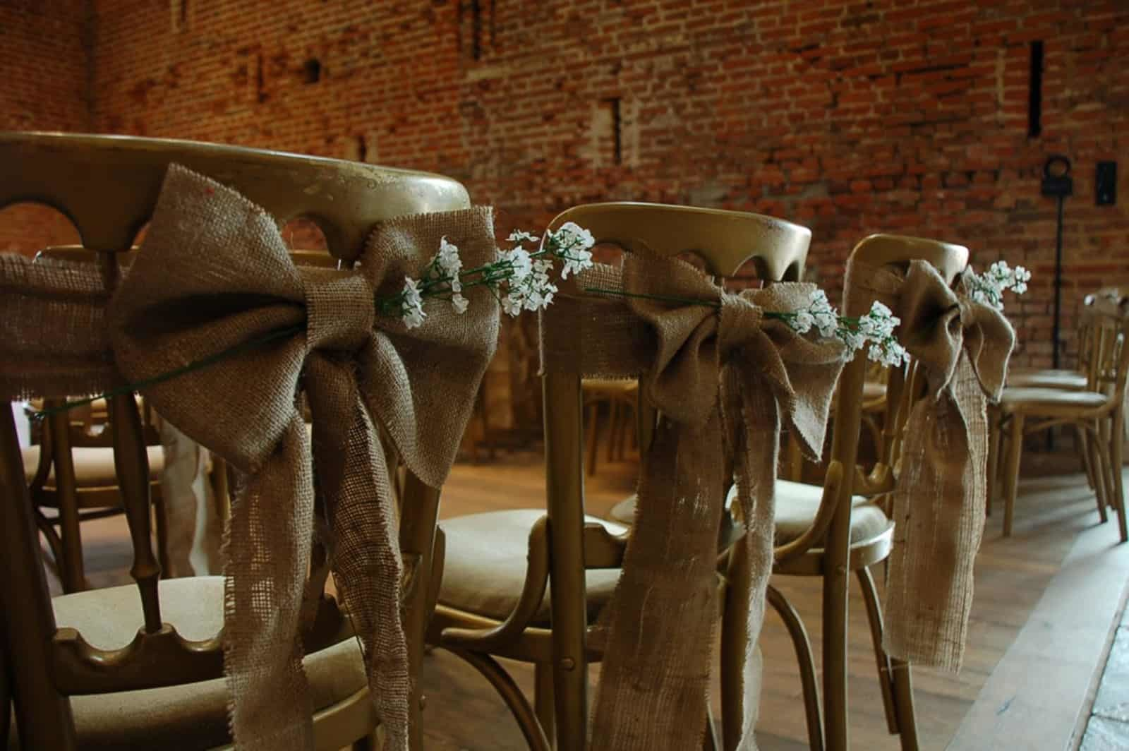 Copdock Hall Hessian Bow and Flower Chairs