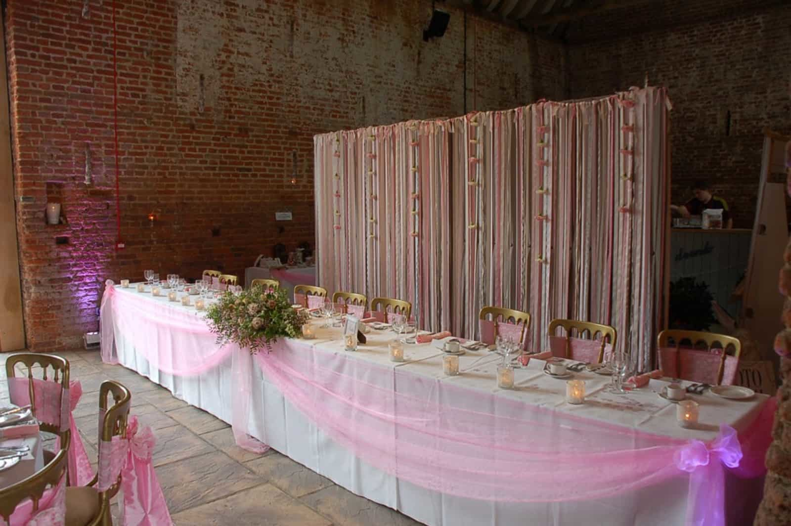 Pink themed head wedding table