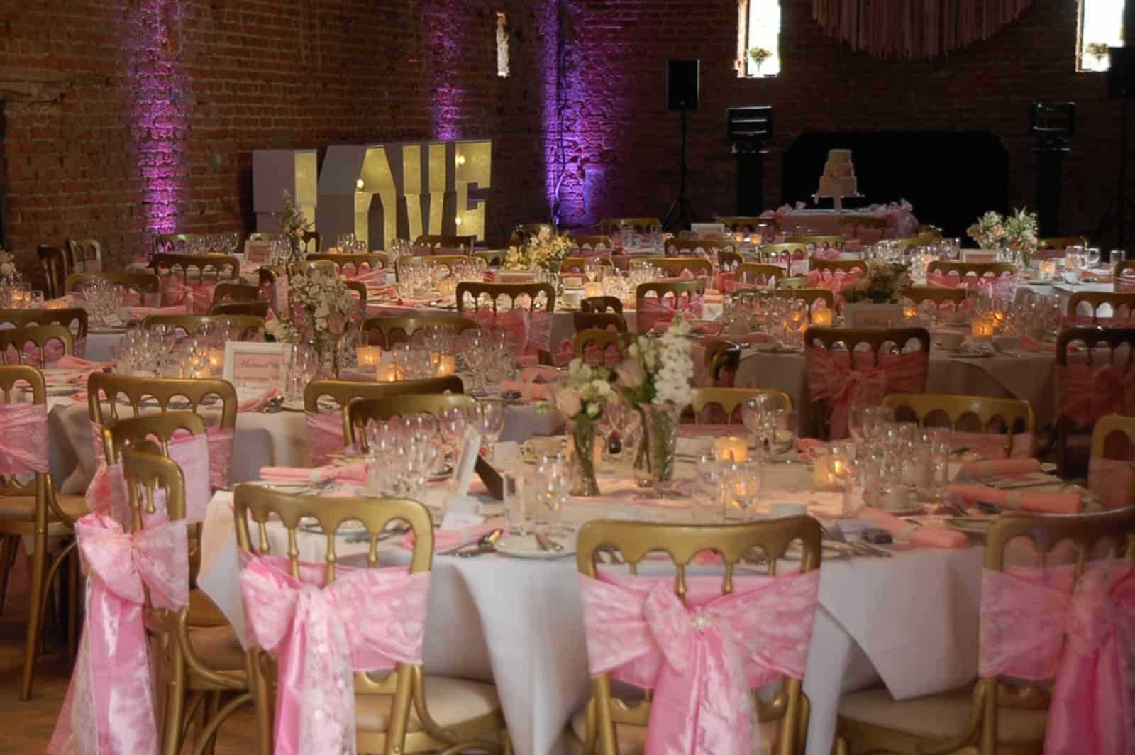 Pink bow themed wedding reception
