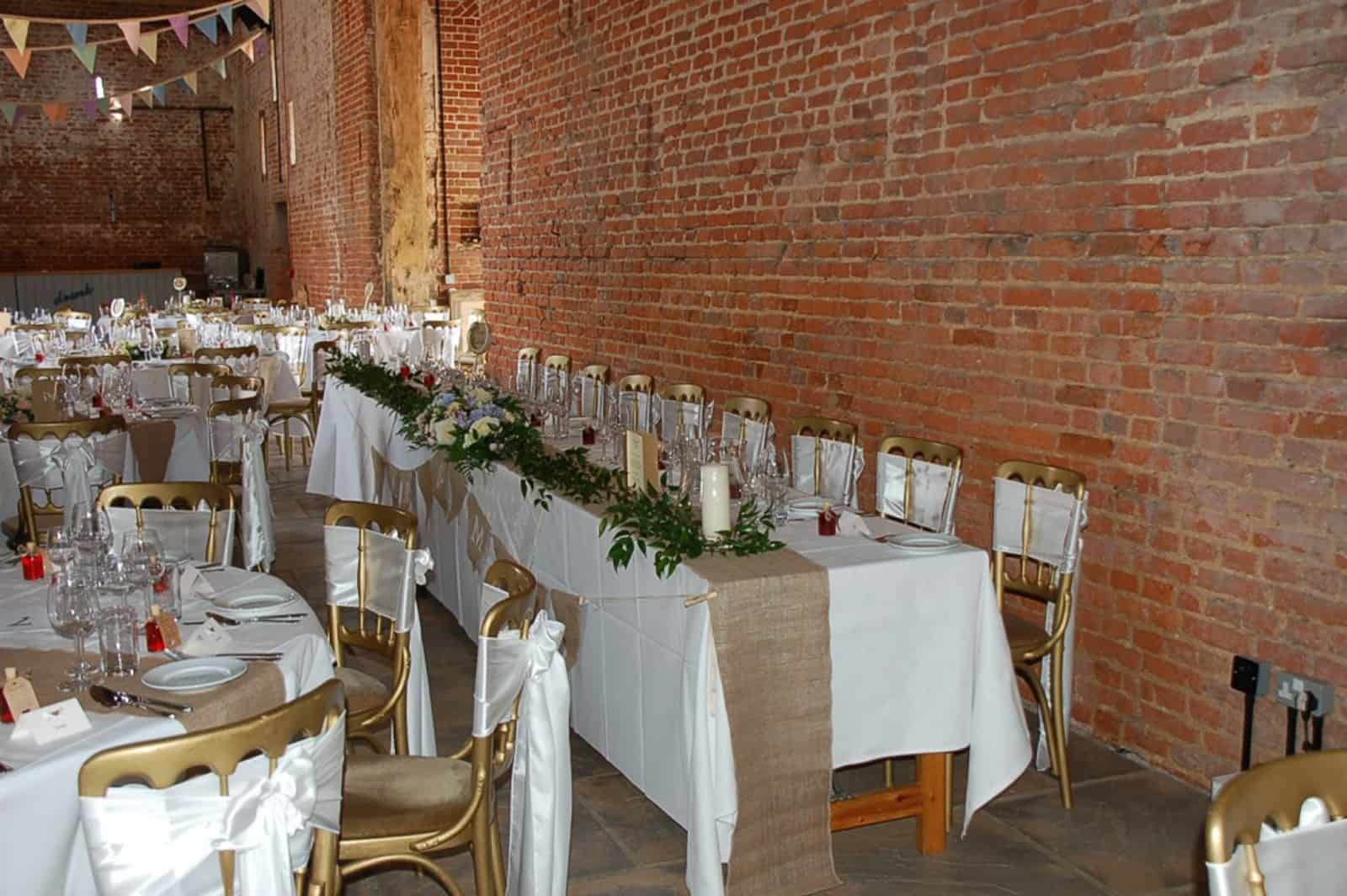 White and beige themed wedding breakfast