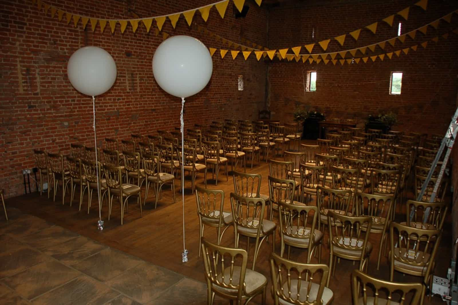 Balloons and bunting wedding ceremony