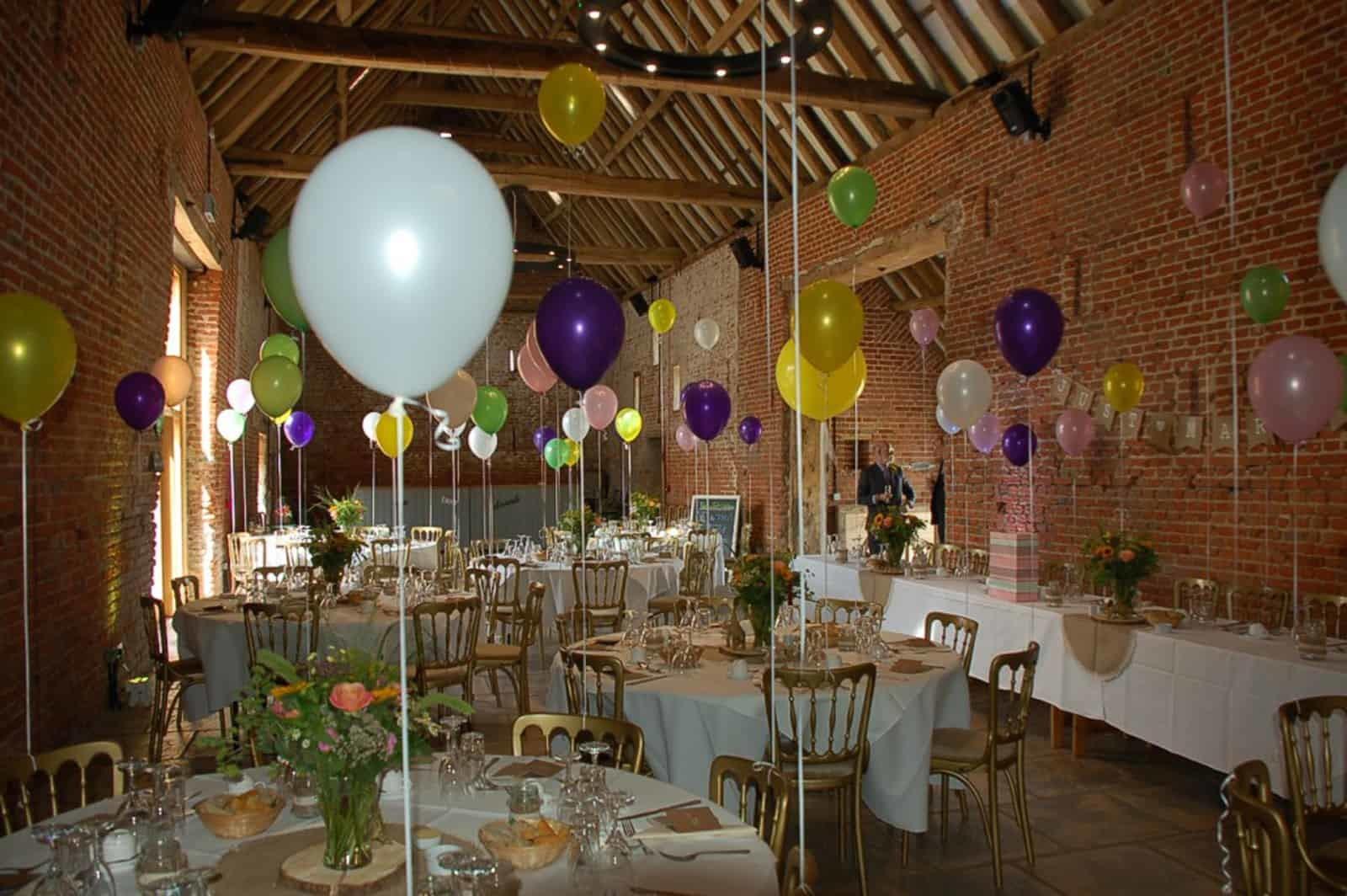 Multicoloured balloons wedding reception