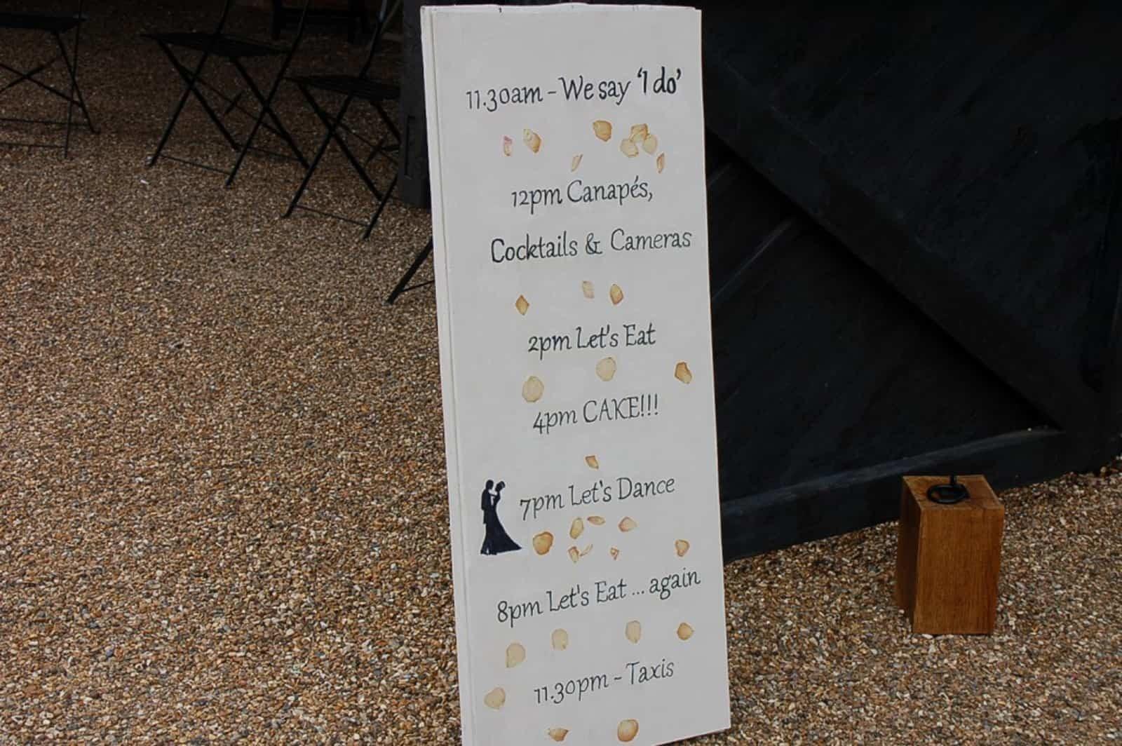 Wedding Day Running Order Board