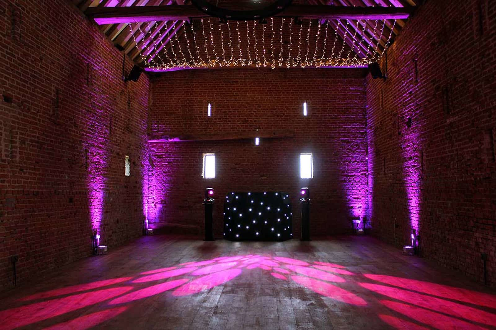 Purple lighting at Copdock Hall