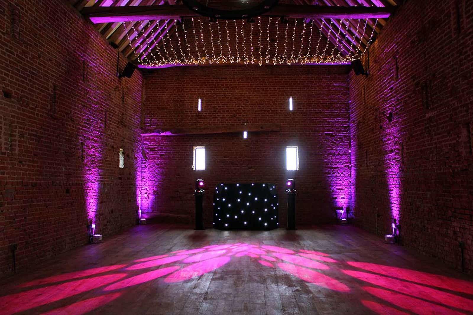 Purple lighting at Copdock Hall