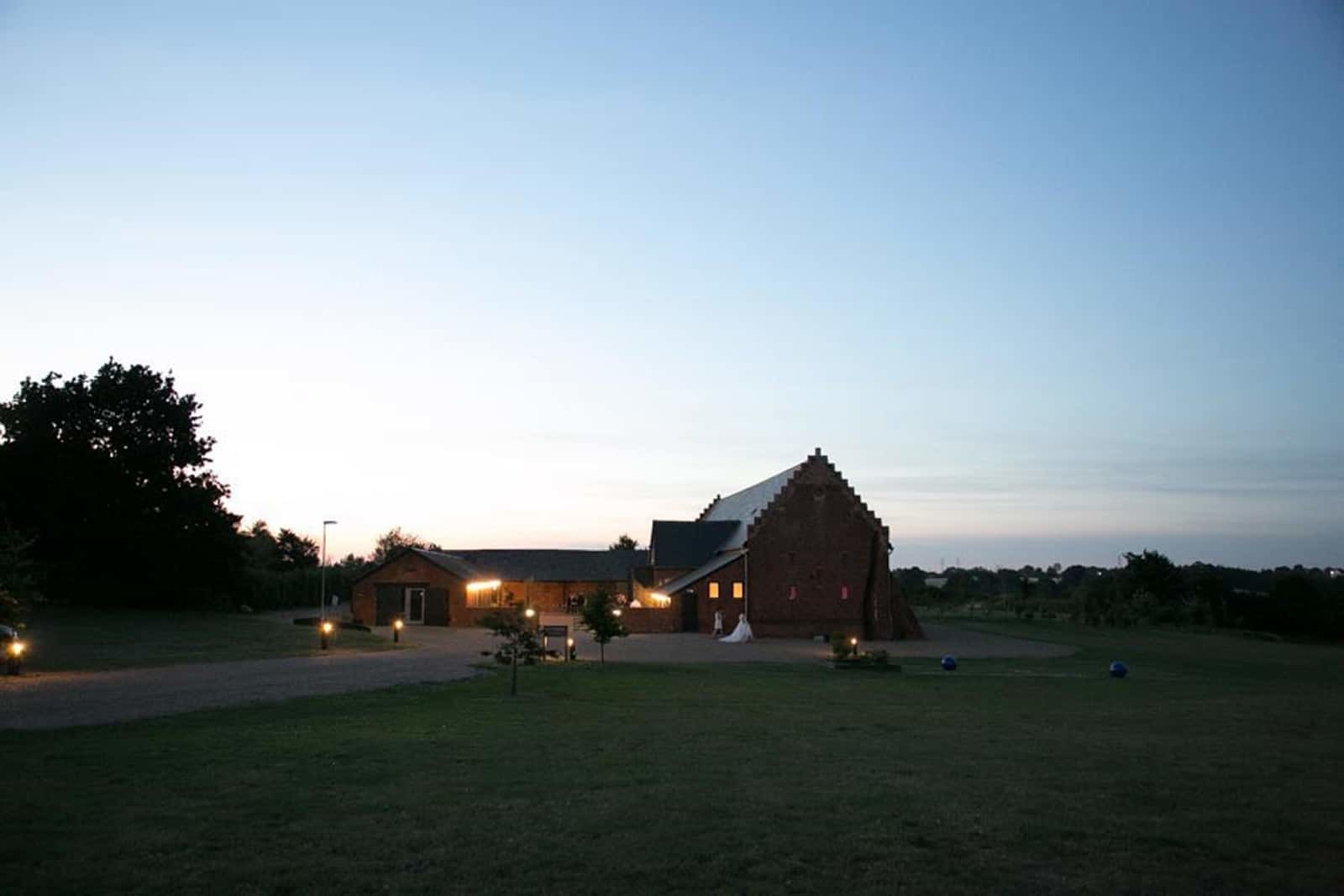 Copdock Hall barn nightime view - Rebecca Prigmore Photography