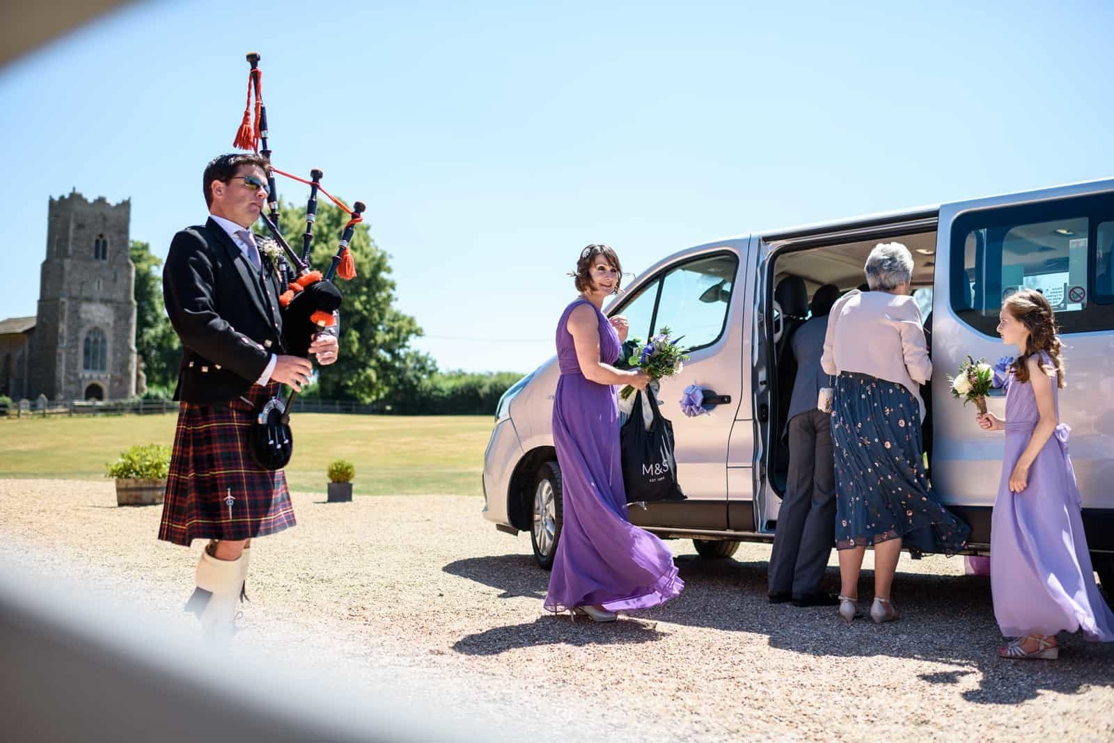 Copdock Hall-Sammy and Suzanne Wedding with bagpiper