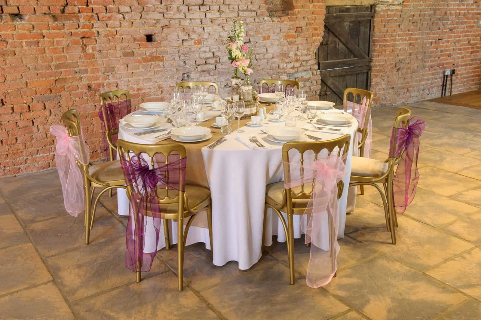 Pink and Purple Table Setting at Copdock Hall
