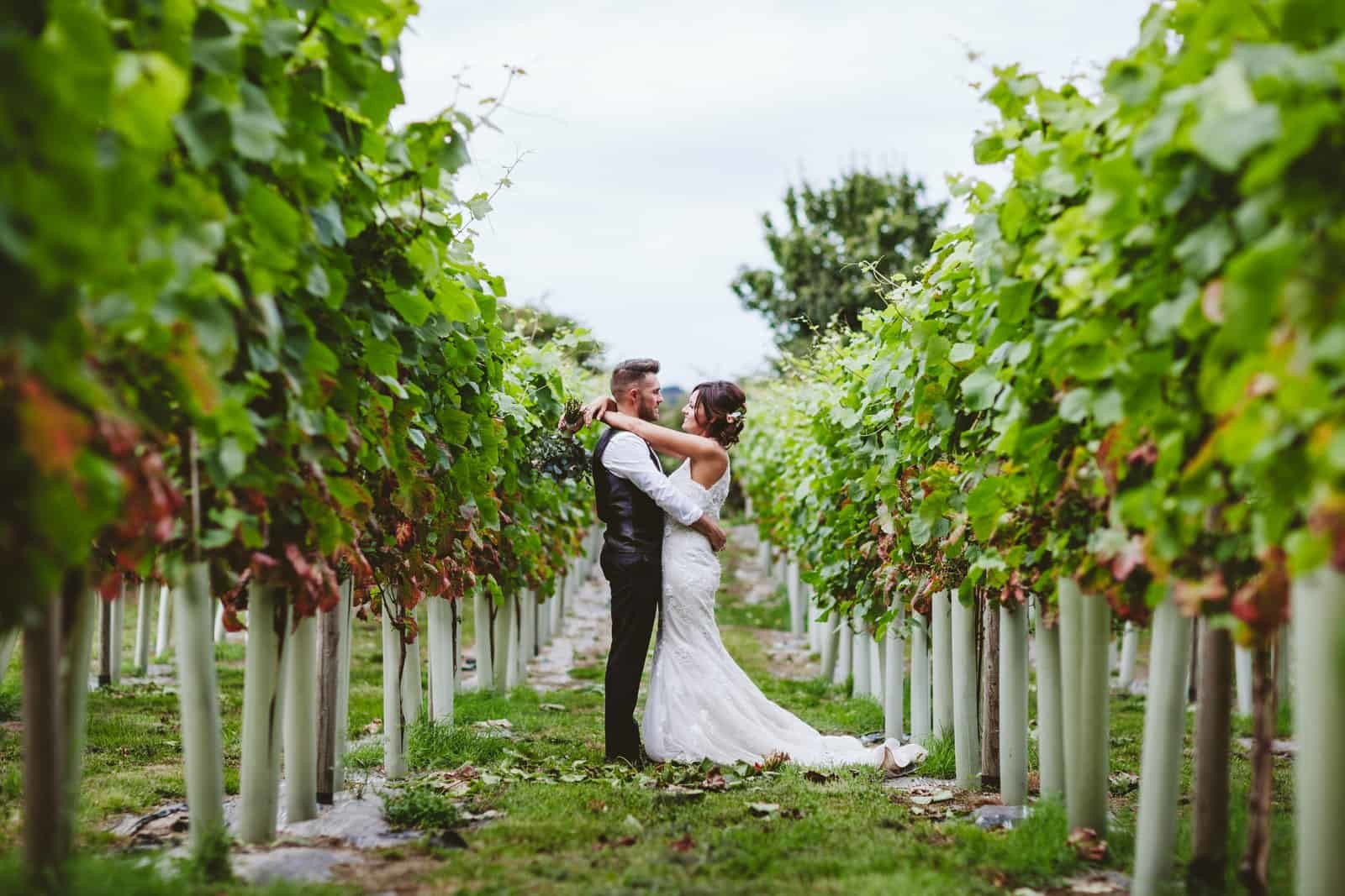 Helen Kirkman Photography Hannah and Scott in vineyard