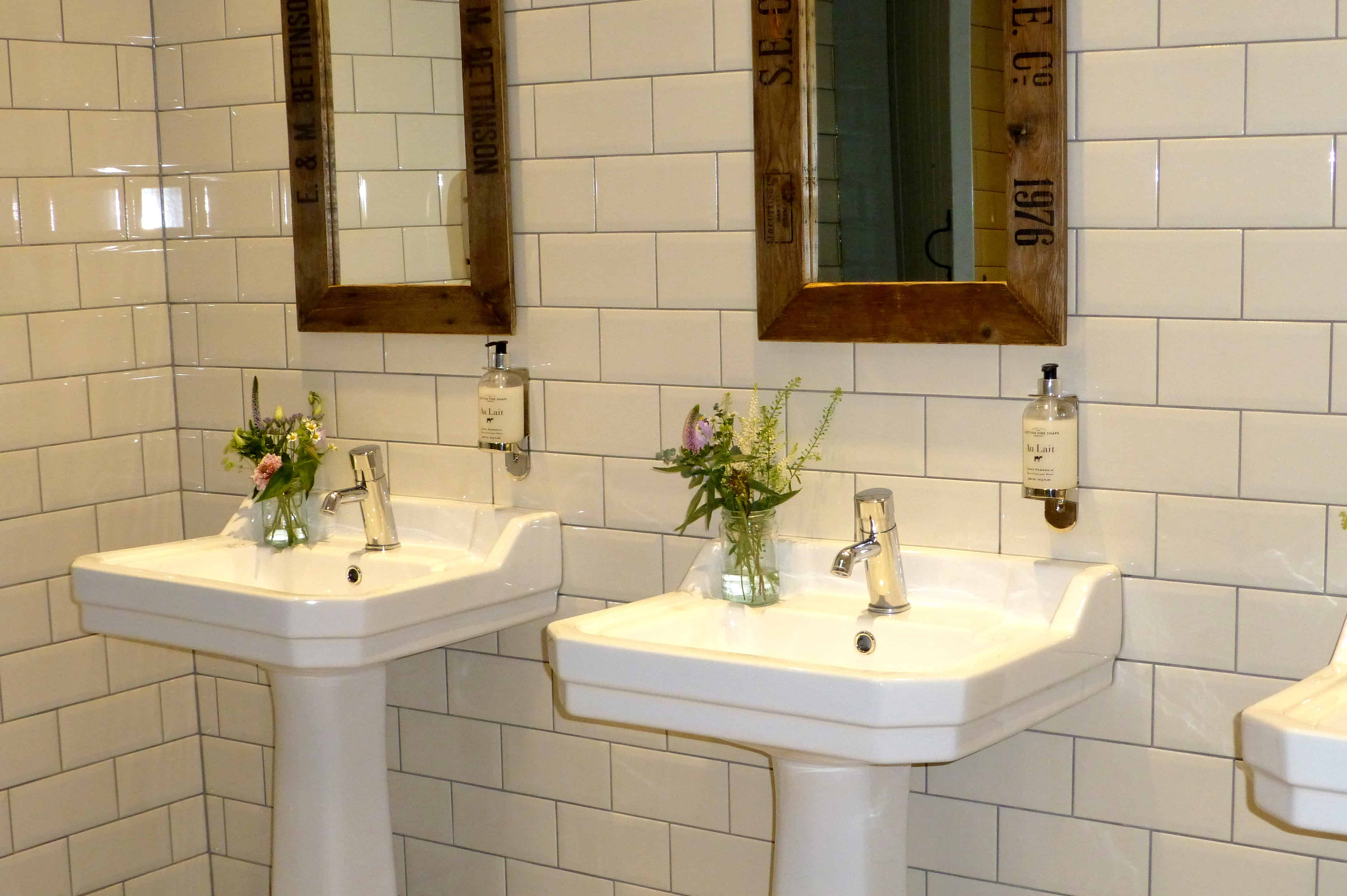 Floral arrangements in the toilets